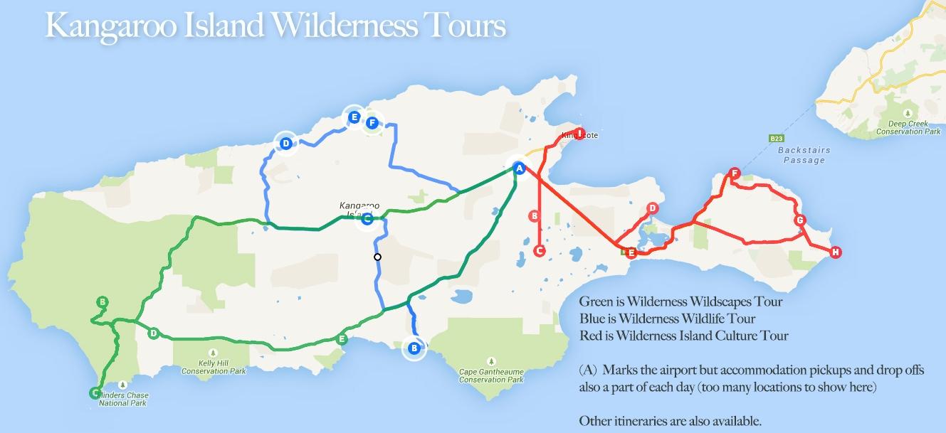Kangaroo Island Australia Map.Ki Tours Tour Maps Kangaroo Island Wilderness Tours